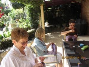zonta club members making breast cushions